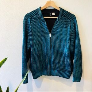 H&M Metallic Knit Bomber Jacket